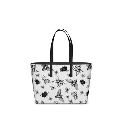 """Leather Small Tote Shopper Bag - Limited Edition Hand Illustrated """"Buzzing Around"""""""
