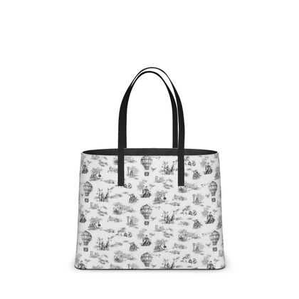 """Leather Large Tote Shopper Bag - Limited Edition Hand Illustrated """"Punk Life  Toile"""""""