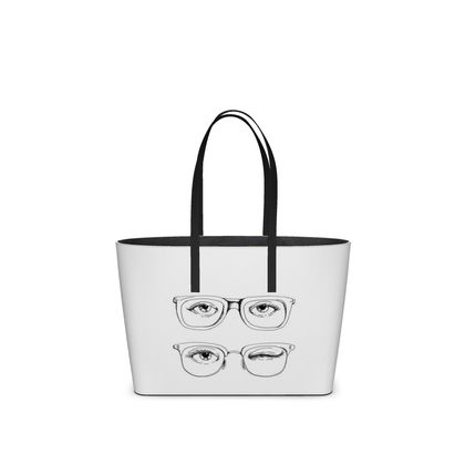 """Leather Small Tote Shopper Bag - Limited Edition Hand Illustrated """"Hello there"""""""