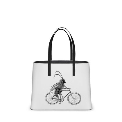 """Leather Large Tote Shopper Bag - Limited Edition Hand Illustrated """"Riding Ma Bike"""""""
