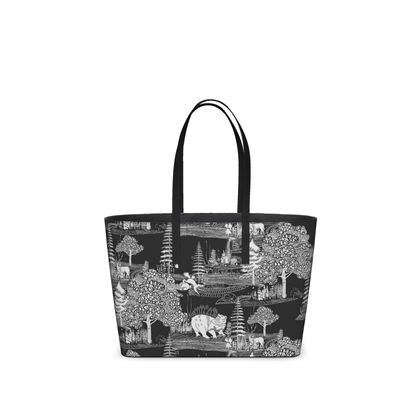 """Leather Small Tote Shopper Bag Black - Limited Edition Hand Illustrated """"They Hide Amongst Us"""" Illustration"""
