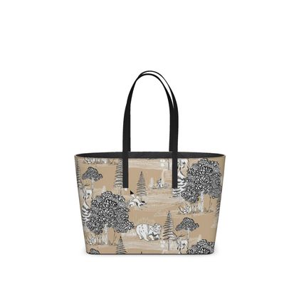 """Leather Small Tote Shopper Bag Camel - Limited Edition Hand Illustrated """"They Hide Amongst Us"""" Illustration"""