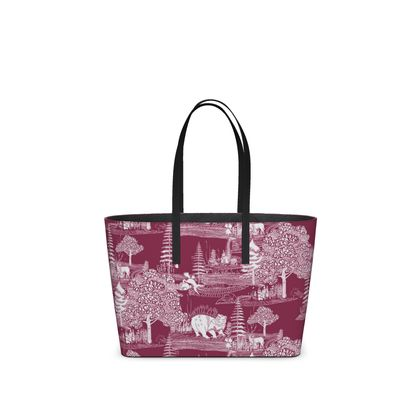 """Leather Small Tote Shopper Bag Red - Limited Edition Hand Illustrated """"They Hide Amongst Us"""" Illustration"""