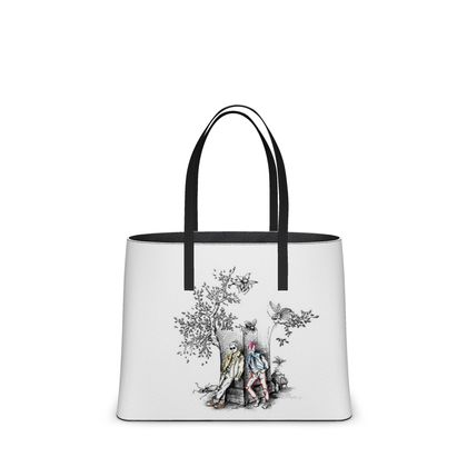 """Leather Large Tote Shopper Bag - Limited Edition Hand Illustrated """"Punk Toile Time"""""""