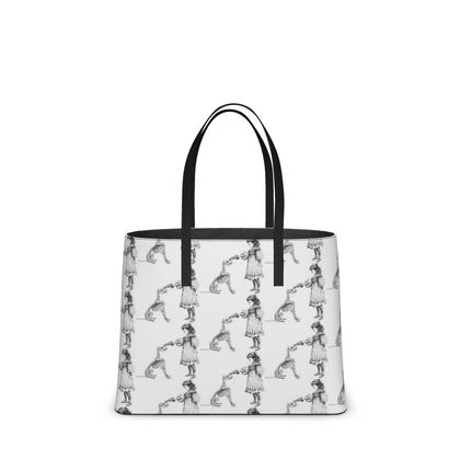 "Leather Large Tote Shopper Bag - Limited Edition Hand Illustrated ""Stick Em Up"""