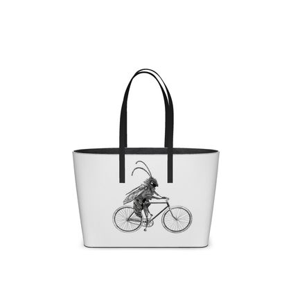 """Leather Small Tote Shopper Bag - Limited Edition Hand Illustrated """"Riding Ma Bike"""""""