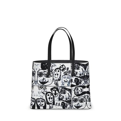 Black and White Faces by Elisavet Kika Tote