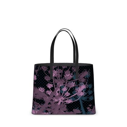 Leather Tote Bag - Floral in Black and Mauve - Large