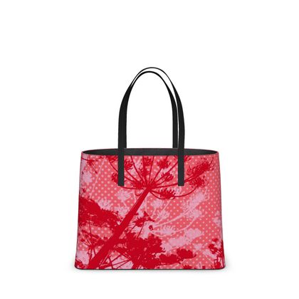 Leather Tote Bag - Floral in Red (Large)