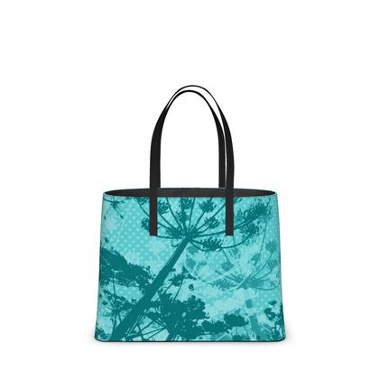 Leather Tote Bag - Floral in Aqua Blue - Large