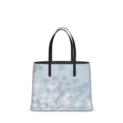 Leather Tote Bag - Floral in White - Large