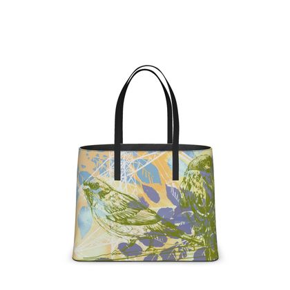 Leather Tote Bag - Birds and leaves in Green (Large)