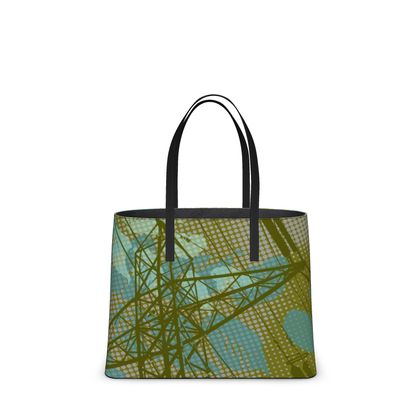 Leather Tote Bag - Urban in Green (Large)