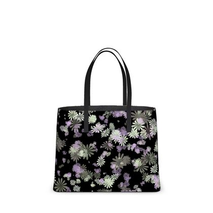 Leather Tote Bag - Florals in Black (2 sizes)
