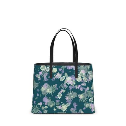 Leather Tote Bag - Florals in Aqua Blue (2 Sizes)