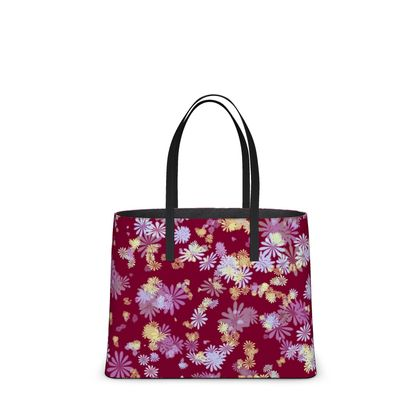 Leather Tote Bag - Florals in Red (2 sizes)