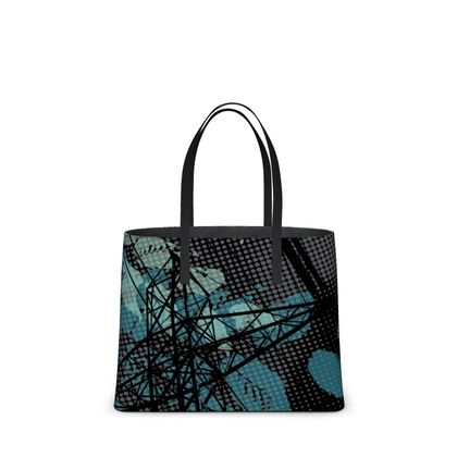 Leather Tote Bag - Urban in Black (Large)