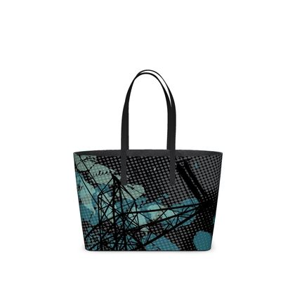Leather Tote Bag - Urban in Black - Small