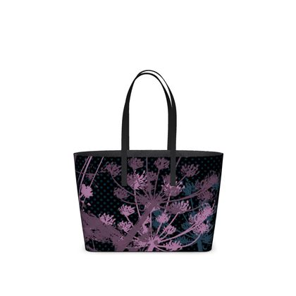 Leather Tote Bag - Floral in Black and Mauve - Small