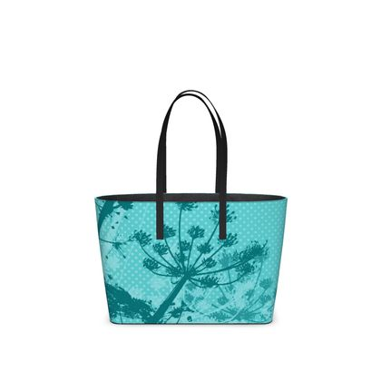 Leather Tote Bag - Florals in Aqua Blue (Small)