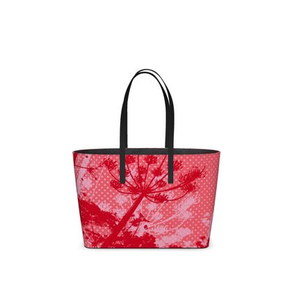 Leather Tote Bag - Florals in Red (Small)