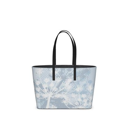 Leather Tote Bag - Florals in White (Small)
