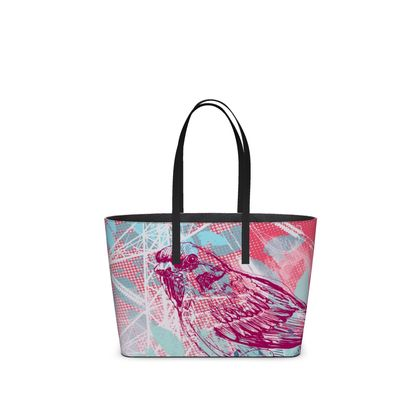 Leather Tote Bag - Leaves in Pink (Small)