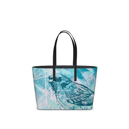 Leather Tote Bag - Urban in Aqua Blue (Small)