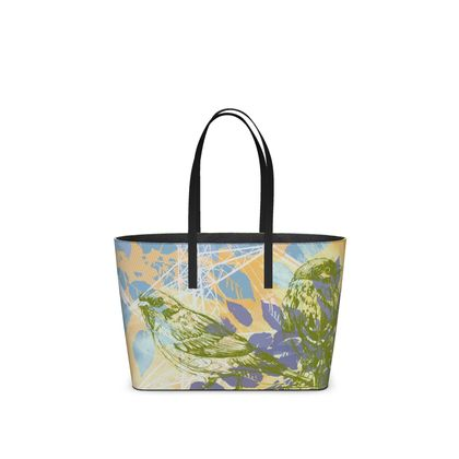 Leather Tote Bag - Urban in Green (Small)