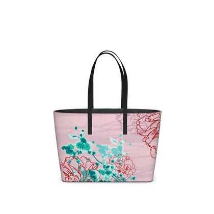 Leather Tote Bag - Florals in Pink (Small)