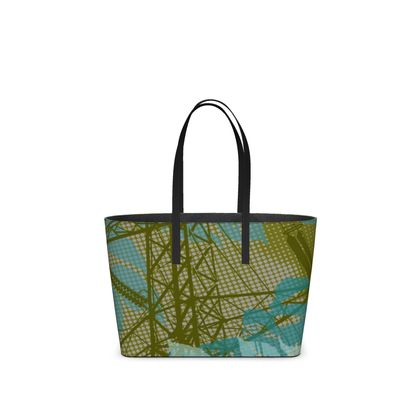Leather Tote Bag - Leaves in Green (Small)