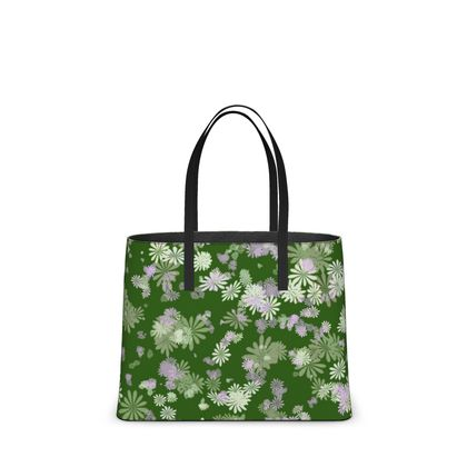 Leather Tote Bag - Florals in Green