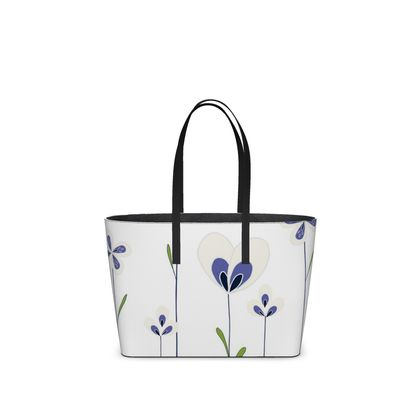 Abstract Blooms Collection - Blue and White - Luxury Kika Tote Bag