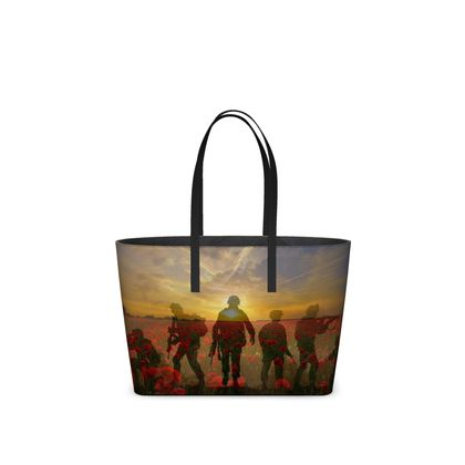 Tote Hand Bag, Poppies/Soldiers