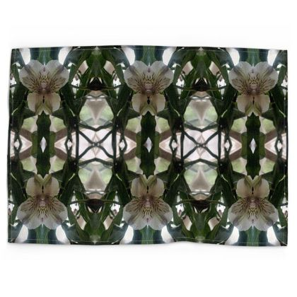 Alstroemeria reflection printed tea towel