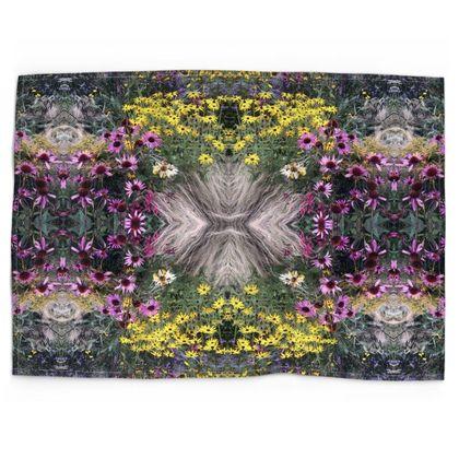Flower garden printed tea towel