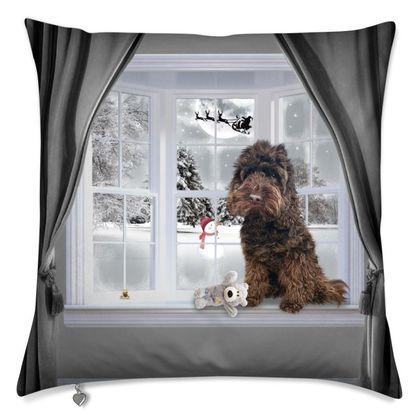 Winter themed cushion chocolate dog