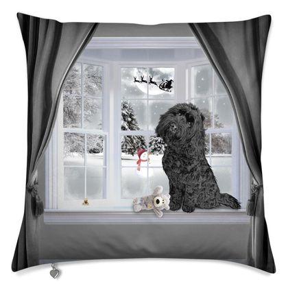 Winter themed cushion black dog