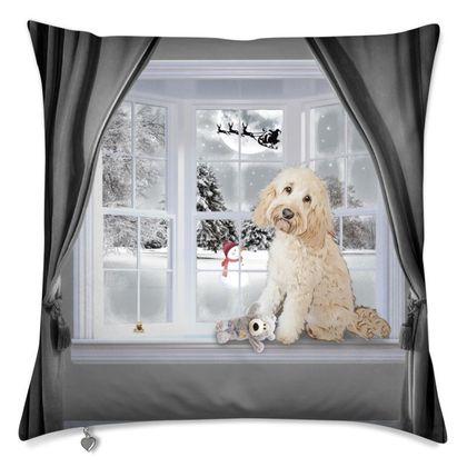 Gorgeous Winter themed cushion cream dog