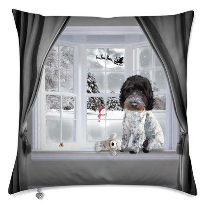 Winter themed cushion blue roan