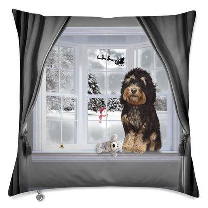 Tricolour dog winter themed cushion