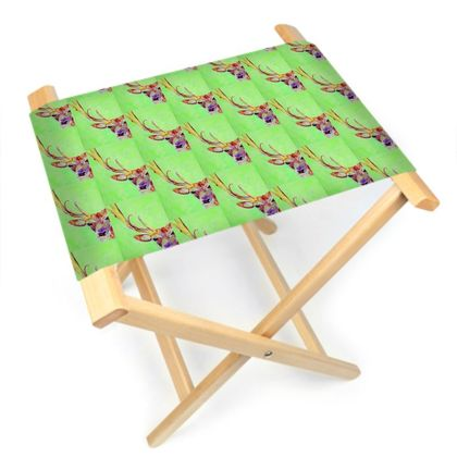 Green Stag Folding Stool Chair