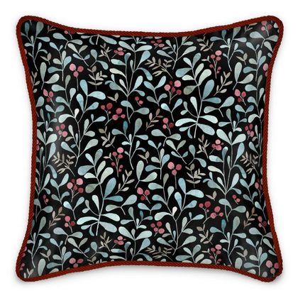 Winter flora dark silk cushion -  watercolor red berries and mistletoe leaves