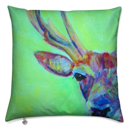 Green and Red Stag Luxury Cushion