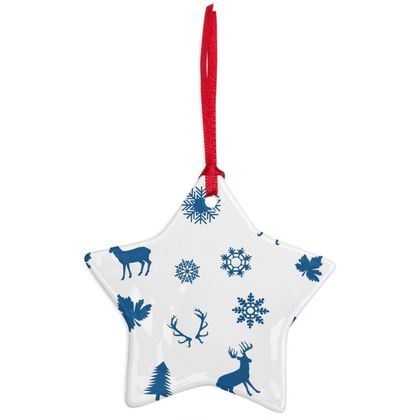 Blue Deers Pattern Ceramic Ornament