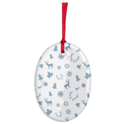 Light Blue Deers Pattern Ceramic ornament