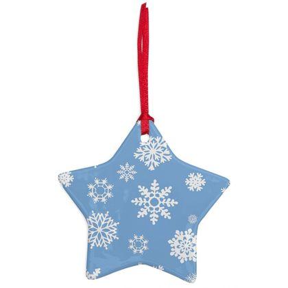 SnowFlake Pattern Ceramic ornament - Blue