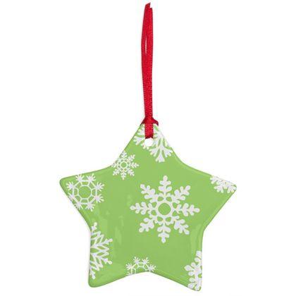 SnowFlake Pattern Ceramic ornament - GREEN