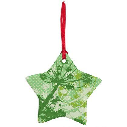 Floral Christmas Ceramic Ornament - Green