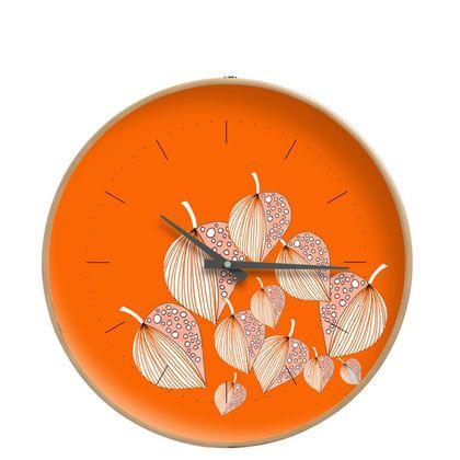Stripy Leaves on Orange - Contemporary Clock